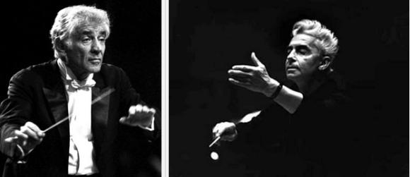Leonard Bernstein and Herbert von Karajan